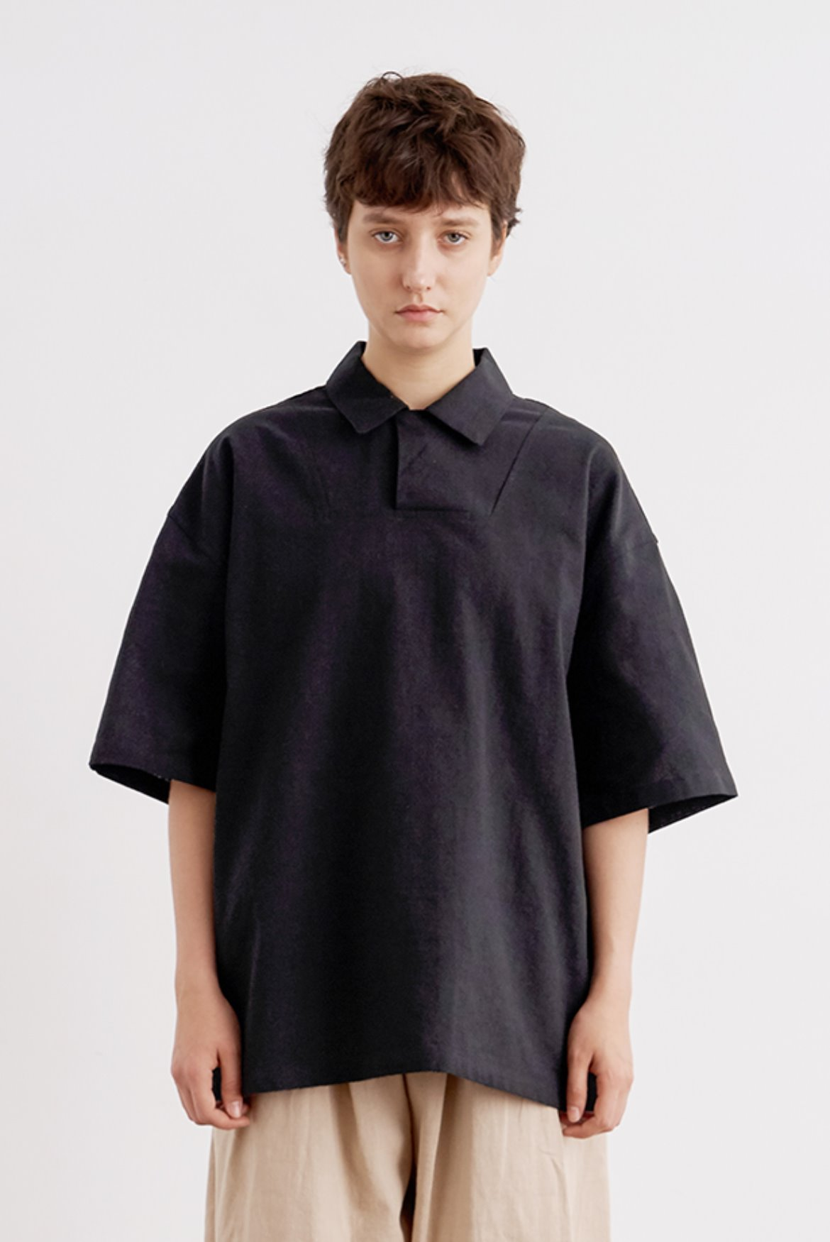 Linen Hidden PK T-Shirts [Black]