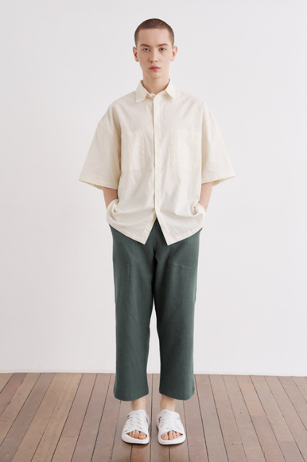 9/L Wide Cut Linen Pants [Teal Green]