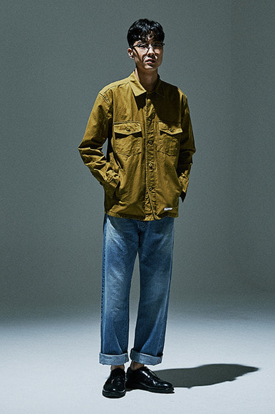 Solid Military Shirts Jacket [Mustard]