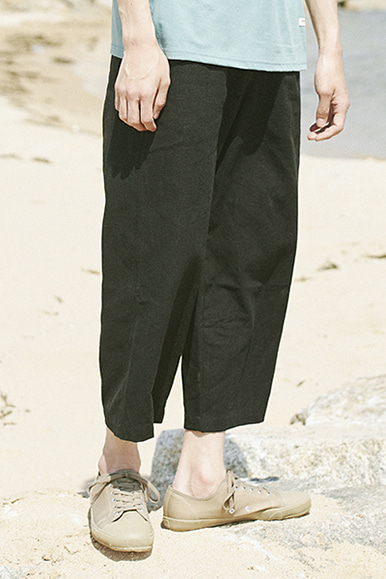 9/L Wide Cut Linen Pants [Black]