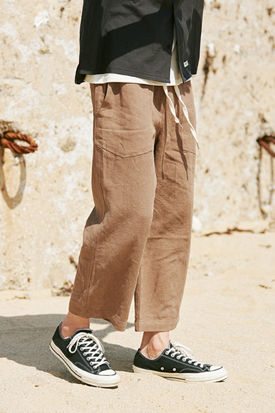 9/L Wide Cut Linen Pants [Brown]