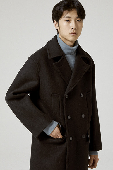 Heavy Wool Pea Coat [Black]