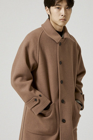 Heavy Wool Balmacaan Coat [Light Brown]