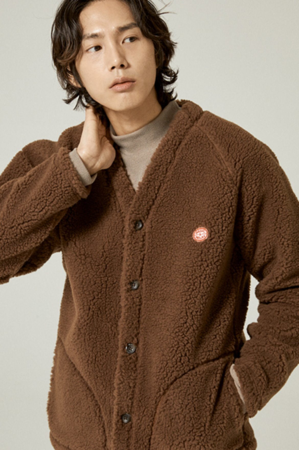 Fleece V Neck Cardigan [Brown]