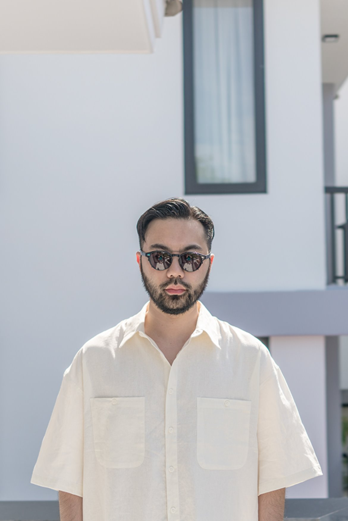 Solid Linen Box Shirts [Cream]