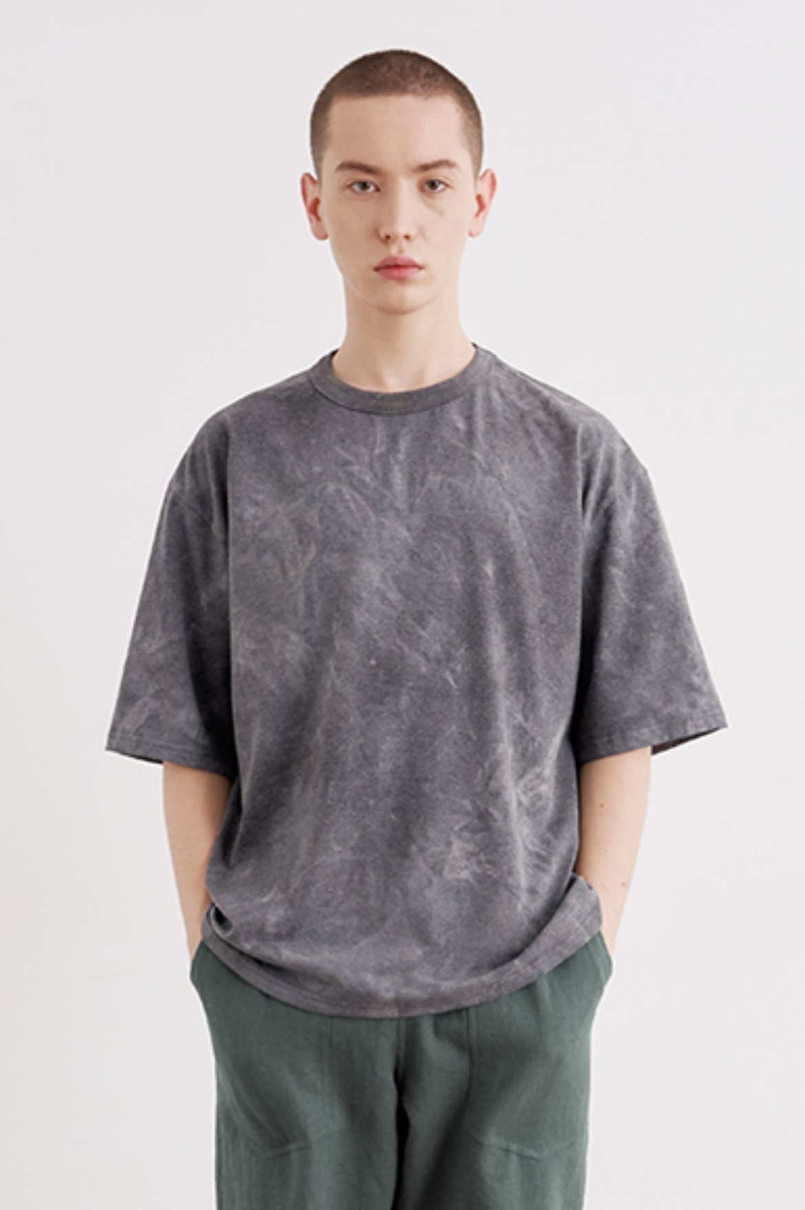 Oversize Water Washed T-Shirts [Charcoal]
