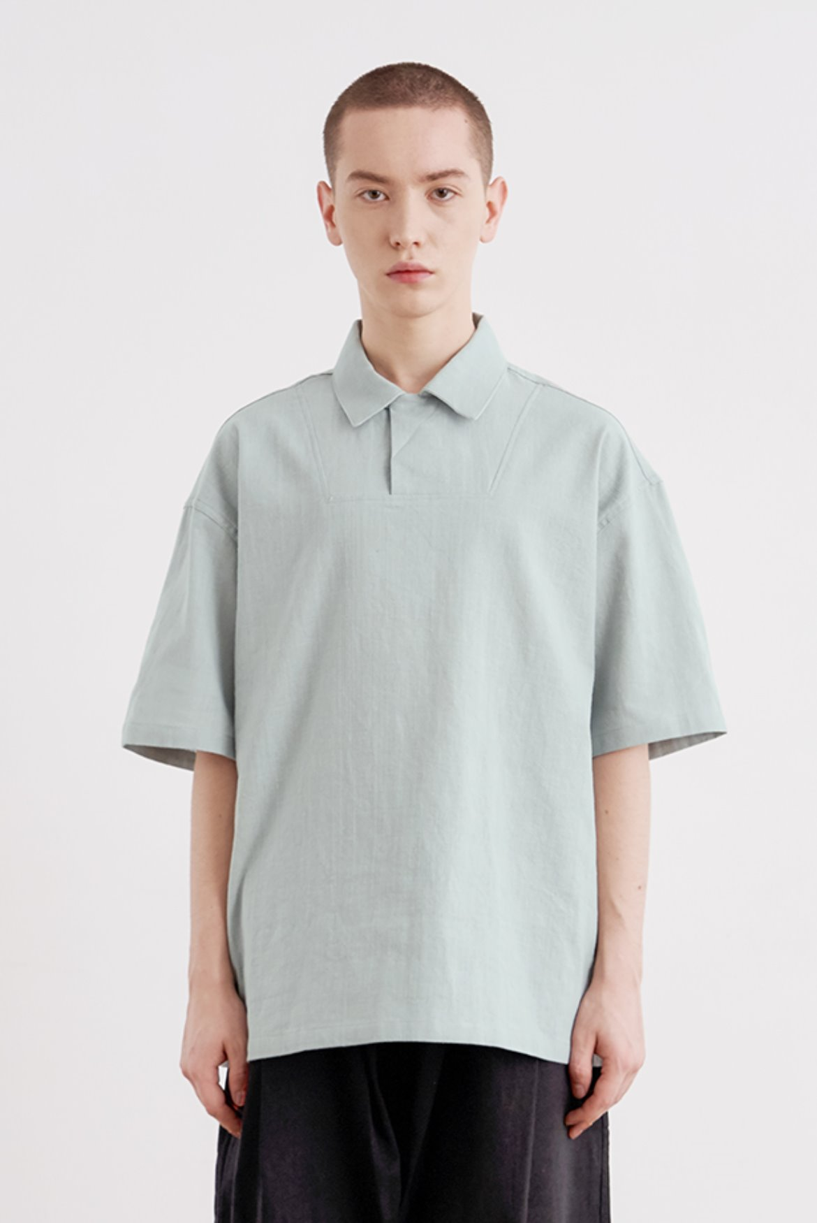 Linen Hidden PK T-Shirts [Mint Blue]