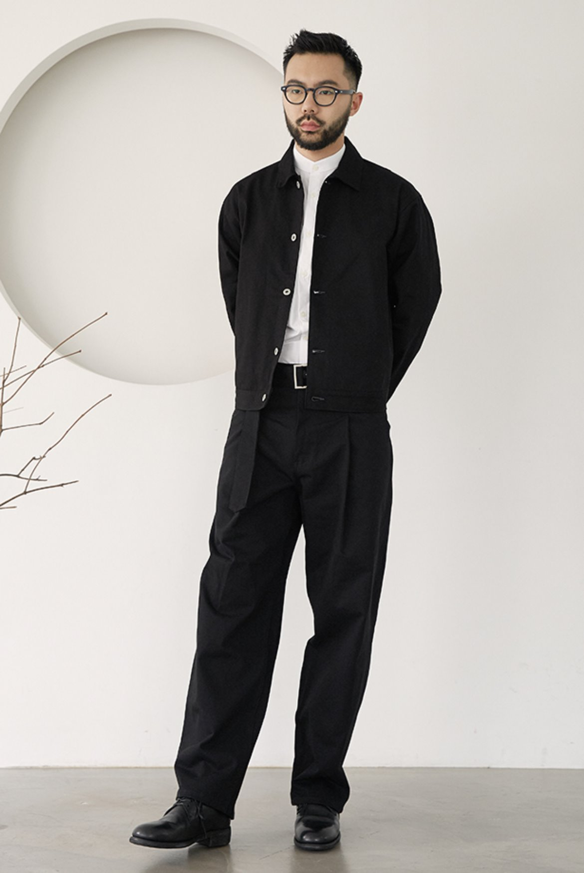 Chino Belted One Tuck Wide Pants [Black]