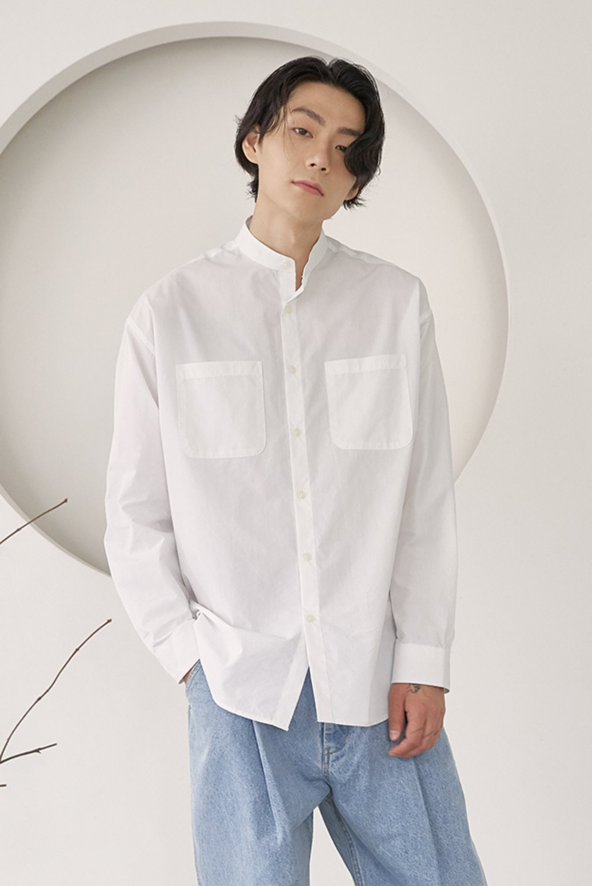 Banded Collar Long Shirts [White]