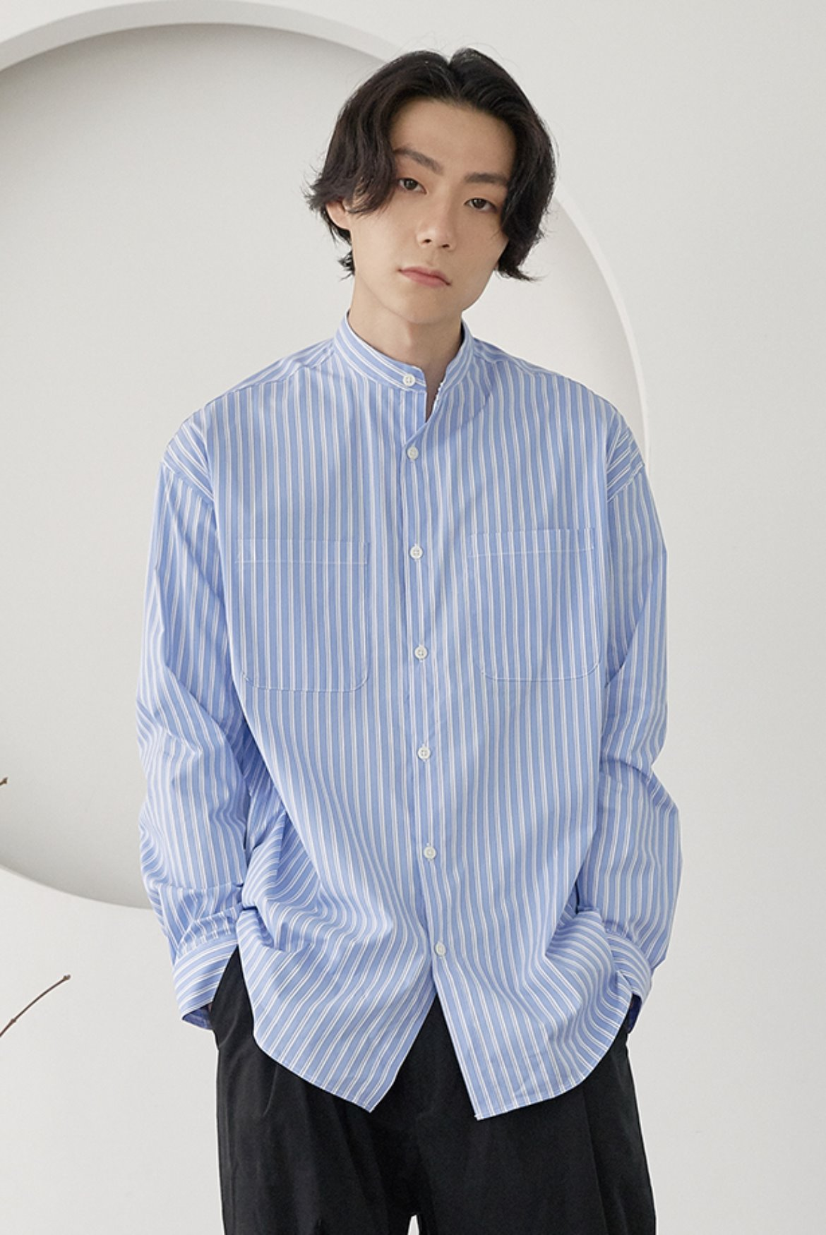 Stripe Banded Collar Long Shirts [Sax Blue]